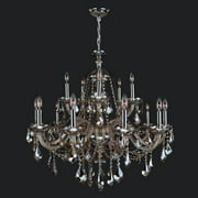 "Provence Collection 15 Light Chrome Finish and Chrome Crystal Chandelier 35"" D x 31"" H Two 2 Tier Large"