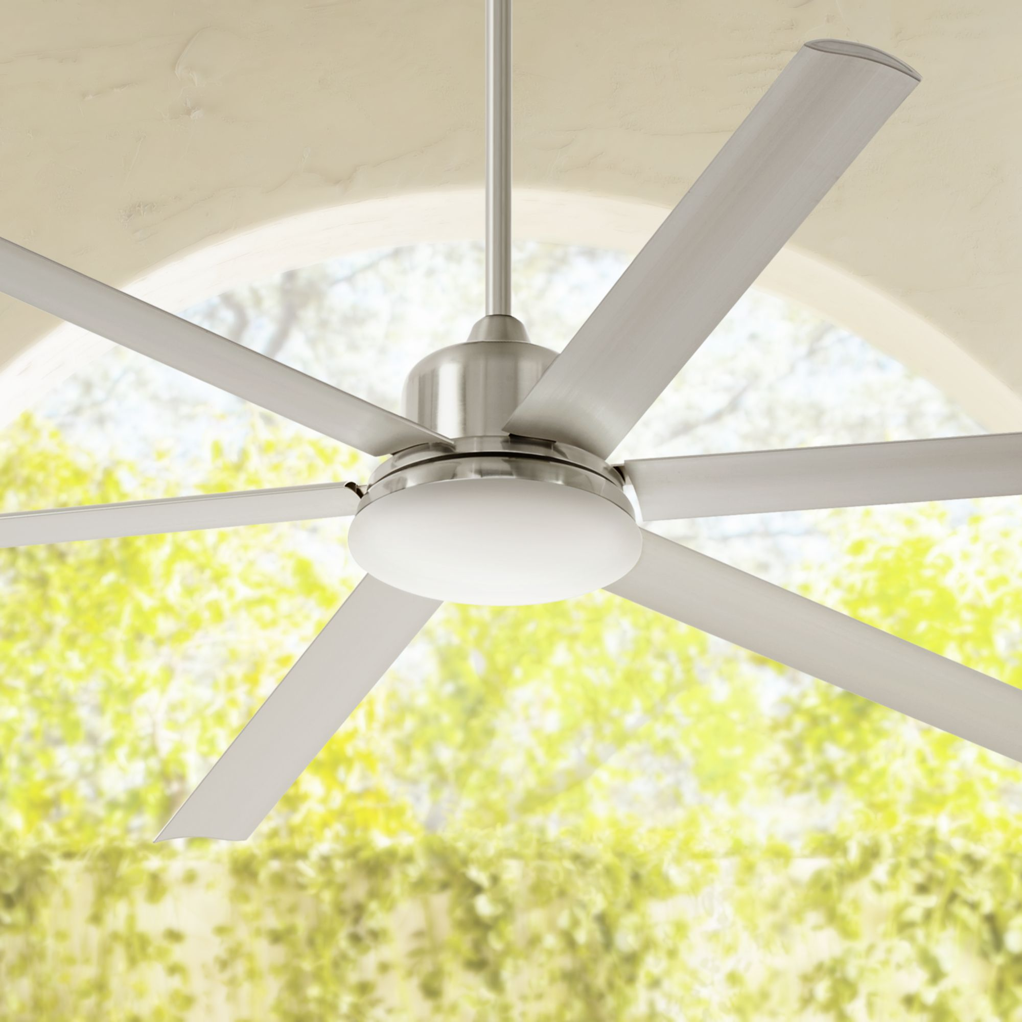 "72"" Casa Vieja Modern Outdoor Ceiling Fan with Light LED Dimmable Remote Control Brushed Nickel Damp Rated for Patio Porch"