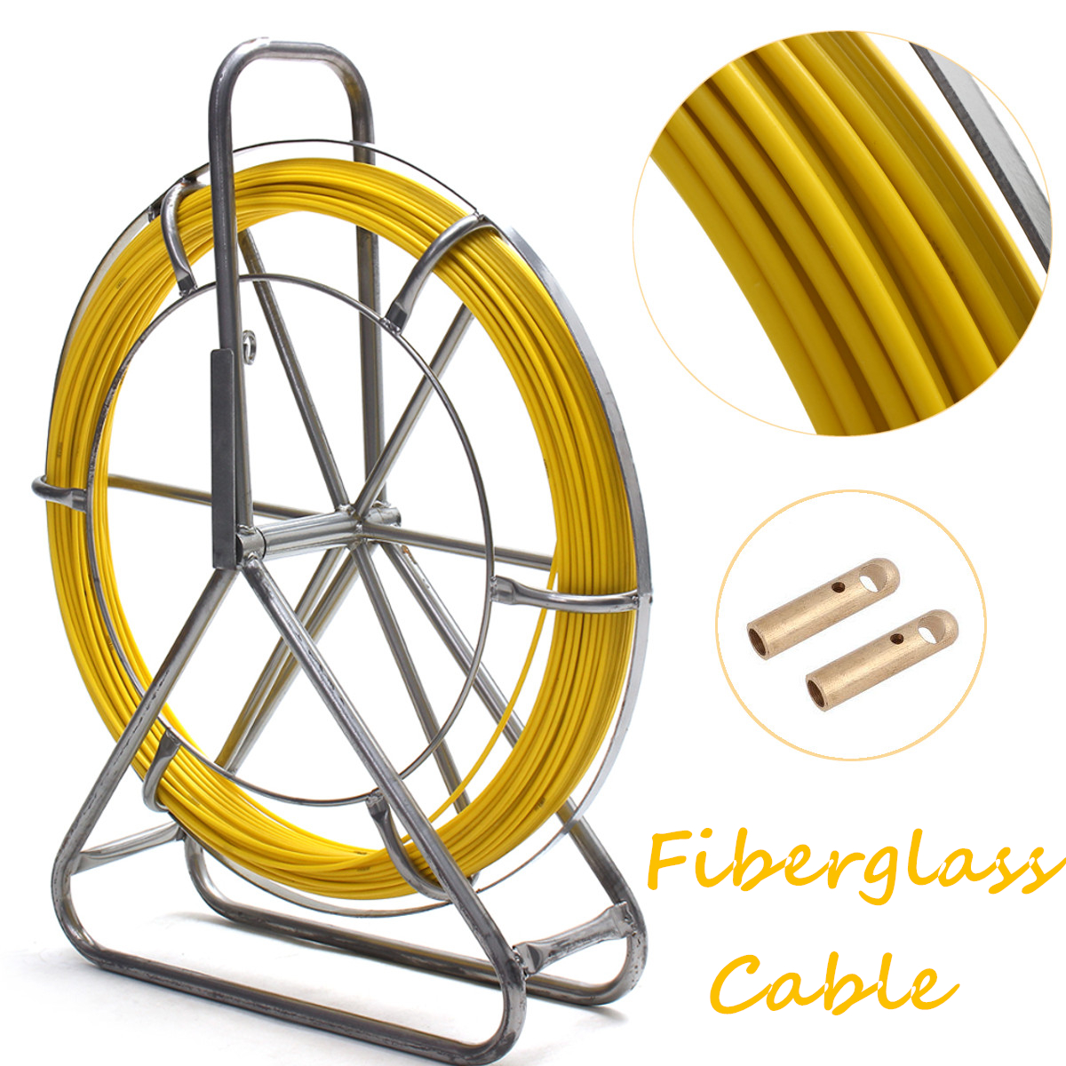 6mm 150m Fish Tape Fiberglass Wire Cable Running Rod Duct...