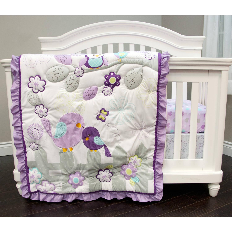 Nemcor Baby's First Love Birds Crib Bedding Set, 3-Piece