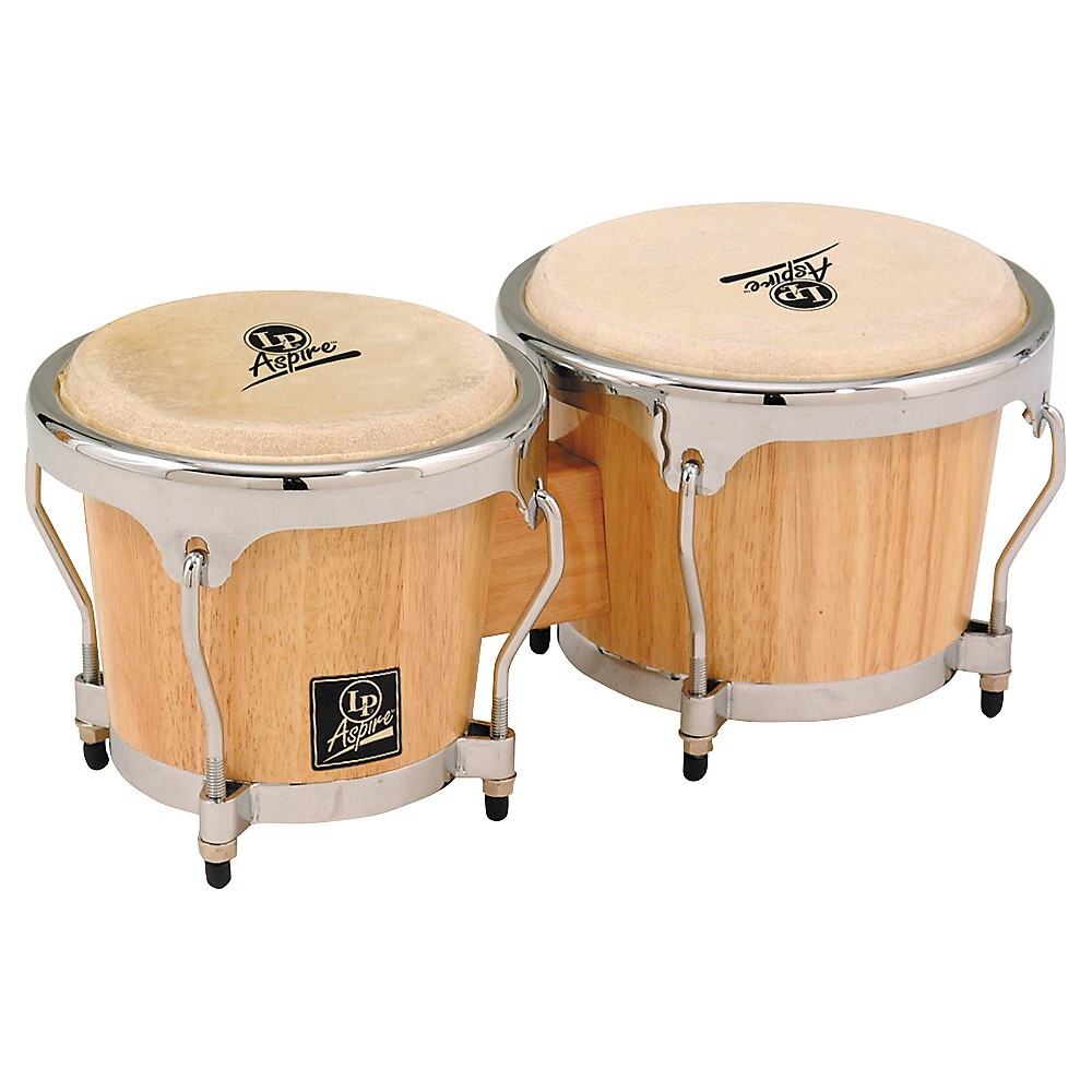 LP LPA601 Aspire Oak Bongos with Chrome Hardware Natural by LP