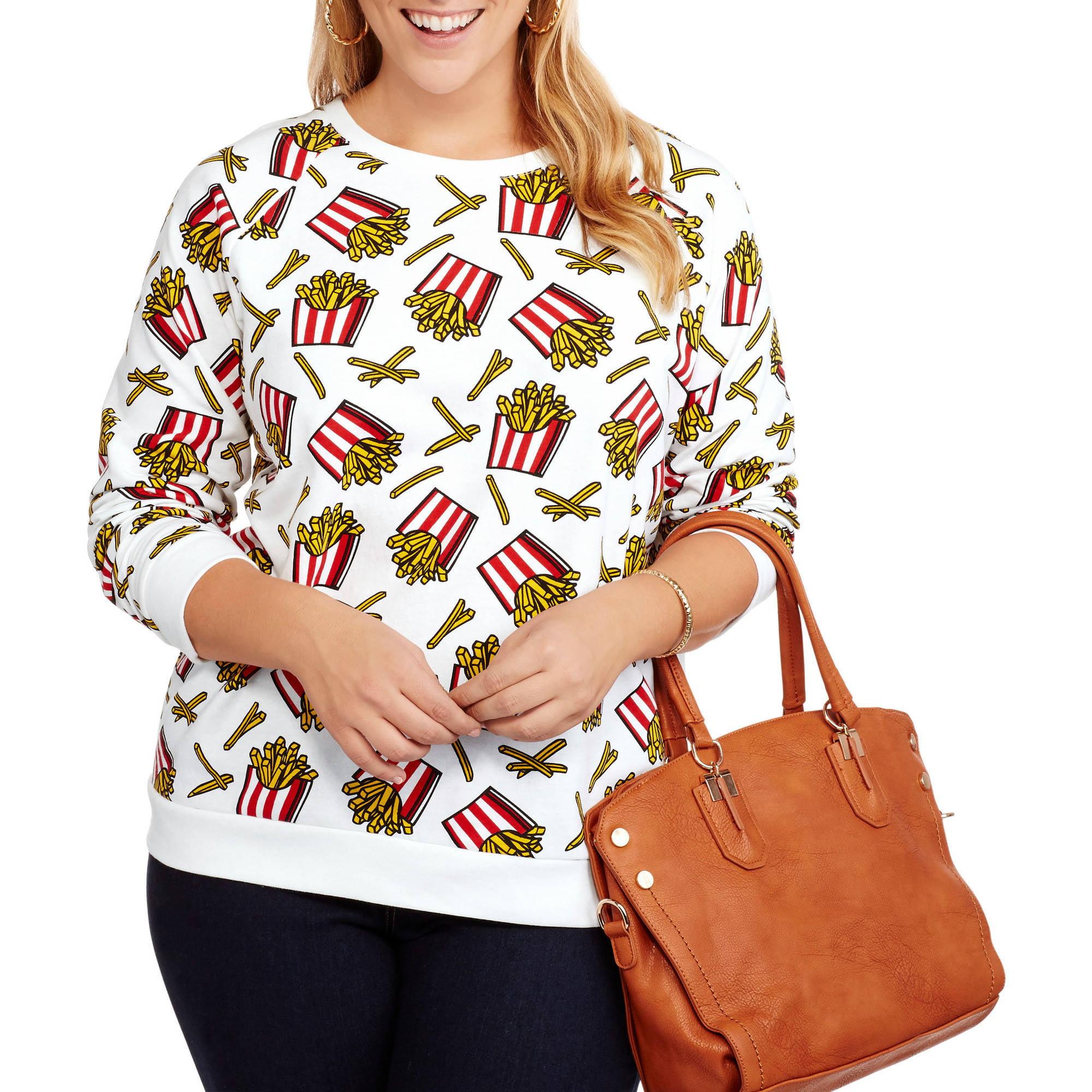 French Fries Emoji Juniors' Plus Fleece Crewneck All Over Print Pullover Sweatshirt