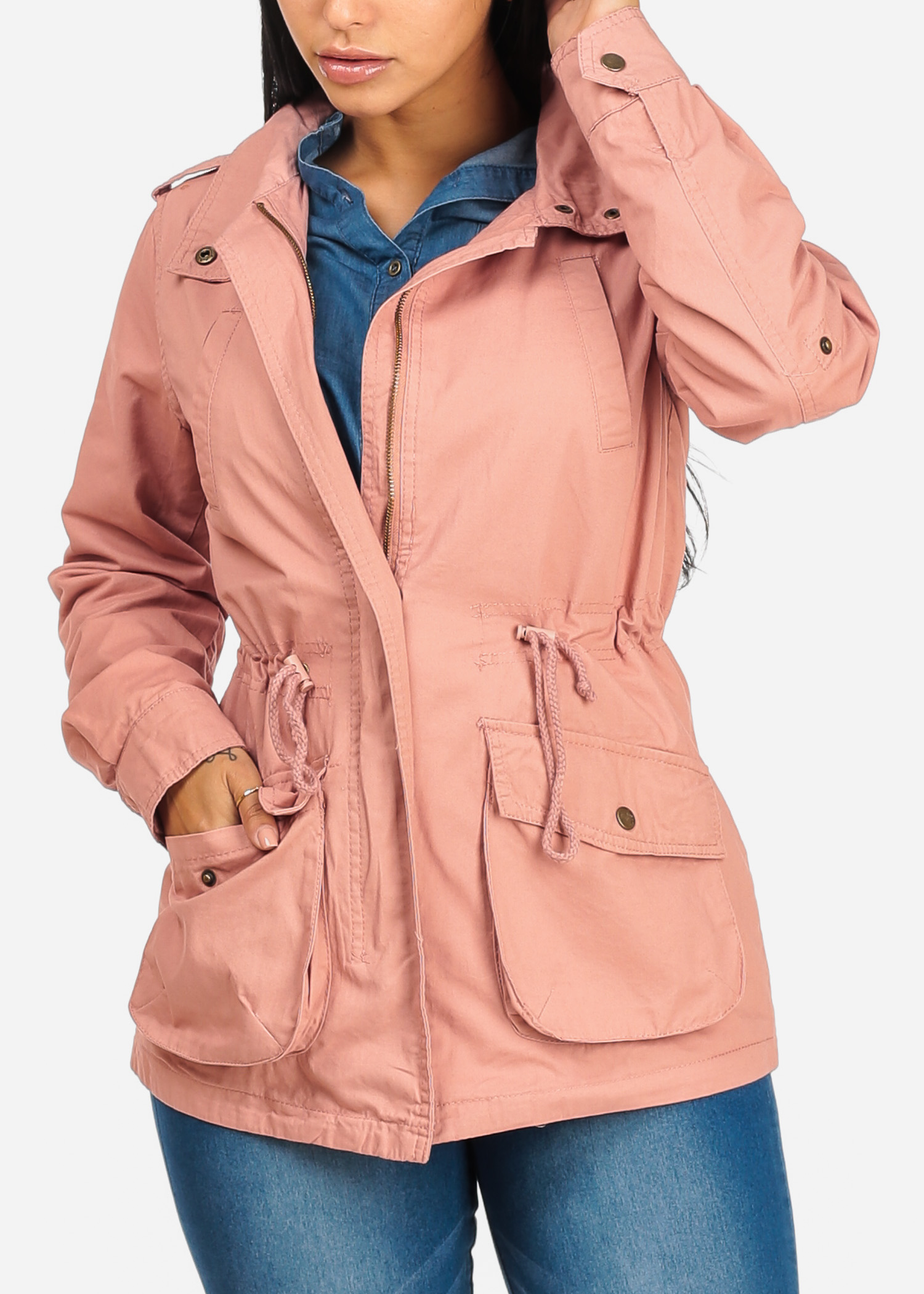Womens Juniors Cargo Style Long Sleeve Front Pockets Zip Up Mauve Jacket 41541P
