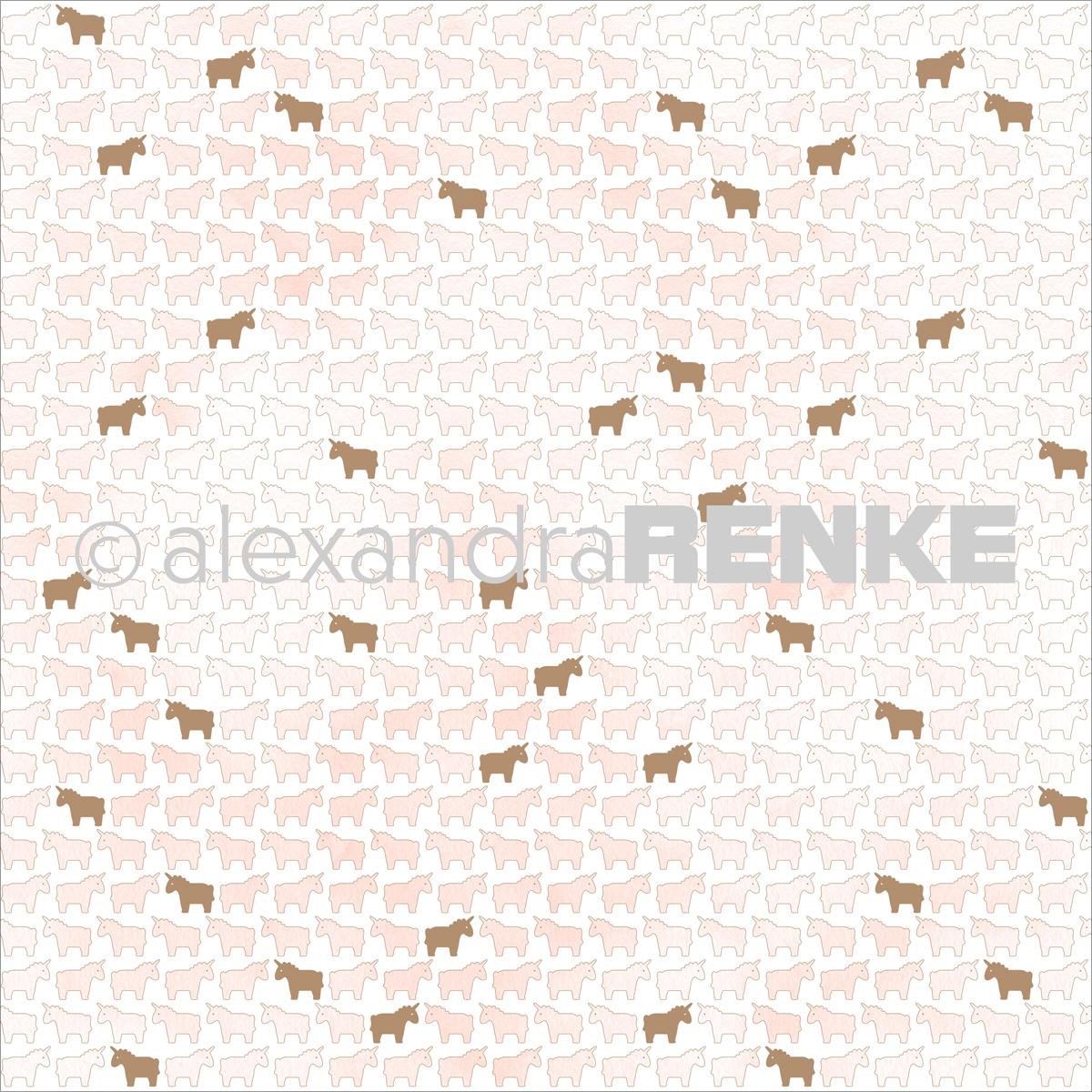 "Alexandra Renke Unicorn Design Paper 12""X12""-Pink W/Gold"