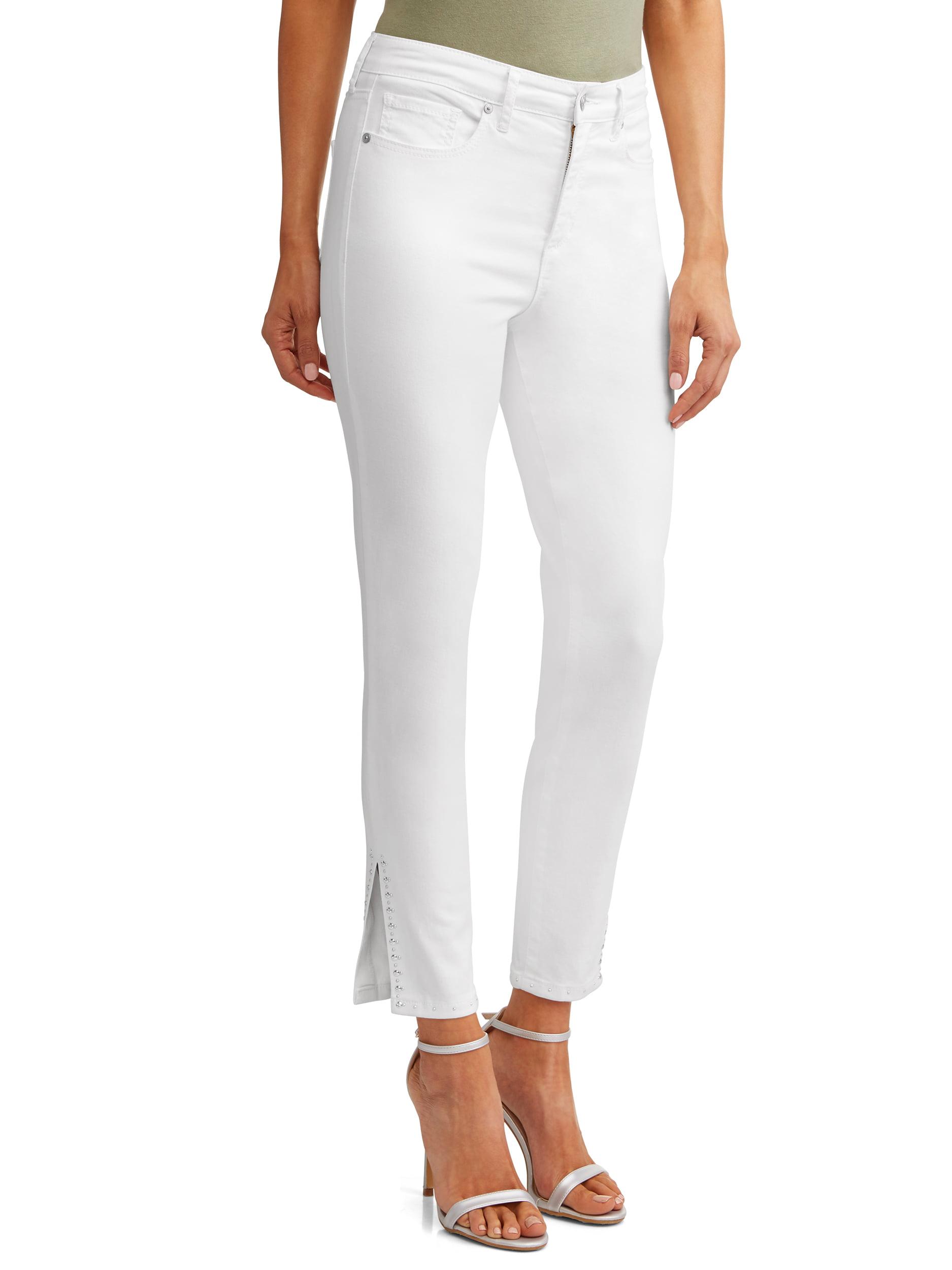 Rosa Curvy High Waist Studded Slit Ankle Jean Women's (White)