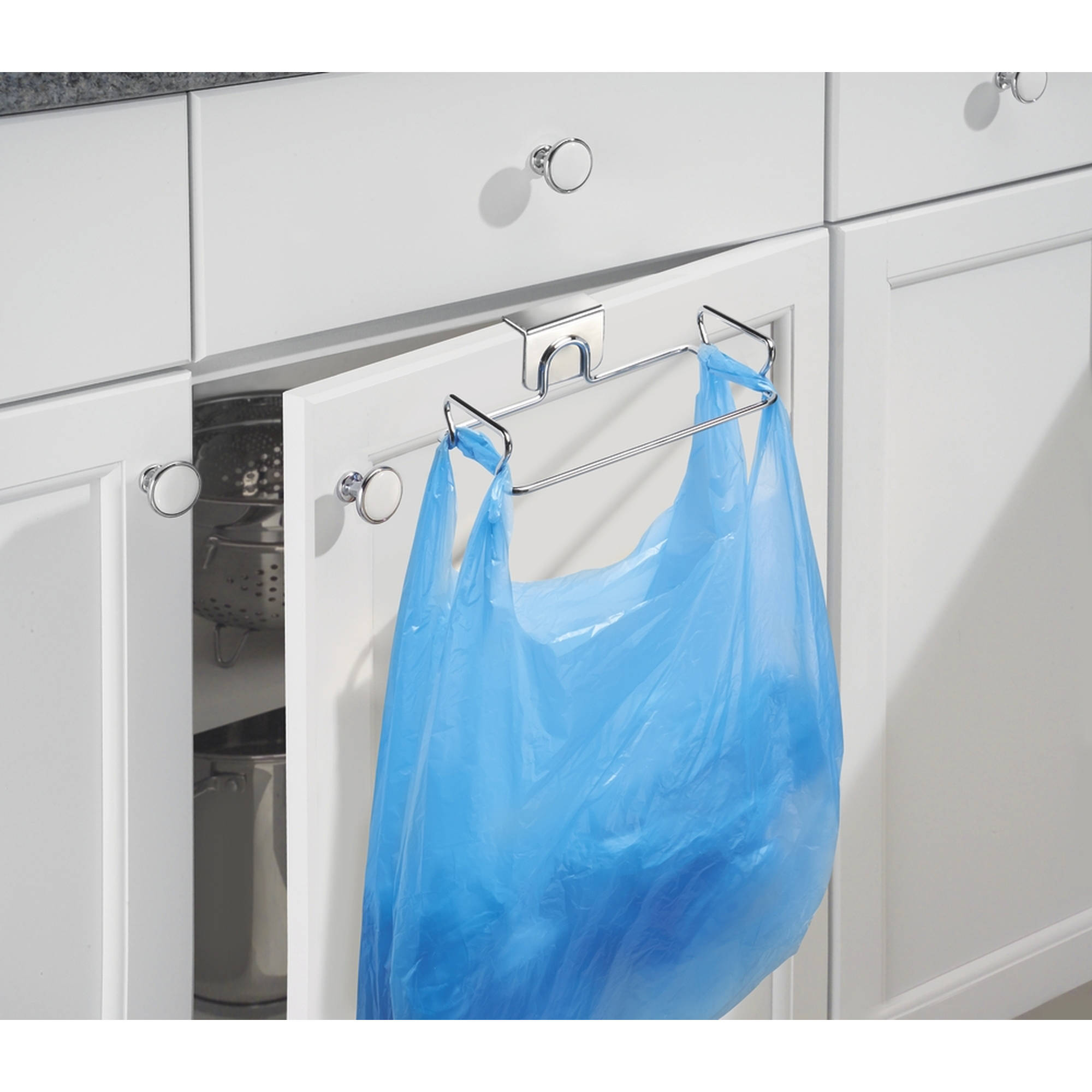 InterDesign Classico Over the Cabinet Plastic Bag Holder for Kitchen, Chrome