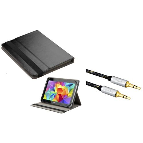 """Insten Universal 9 - 10 Inch Tablet Leather Case iPad 4 3 2 1 Air 2nd 1st Pro 9.7"""" (+ 3.5mm Auxiliary Cable)"""