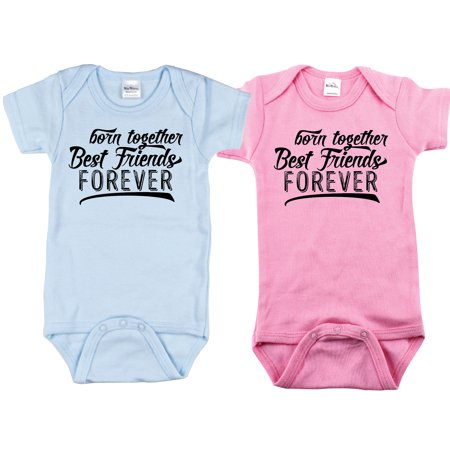 Nursery Decals and More Brand: Twin Boy and Girl Bodysuits, Includes 2 Bodysuits, 0-3 Month BTBFF for $<!---->