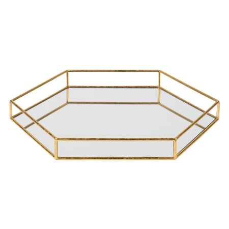 Kate and Laurel Felicia Metal Mirrored Hexagon Decorative Tray, Gold ()