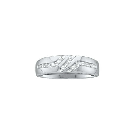10kt White Gold Mens Round Channel-set Diamond Triple Row Wedding Band Ring 1/8 Cttw