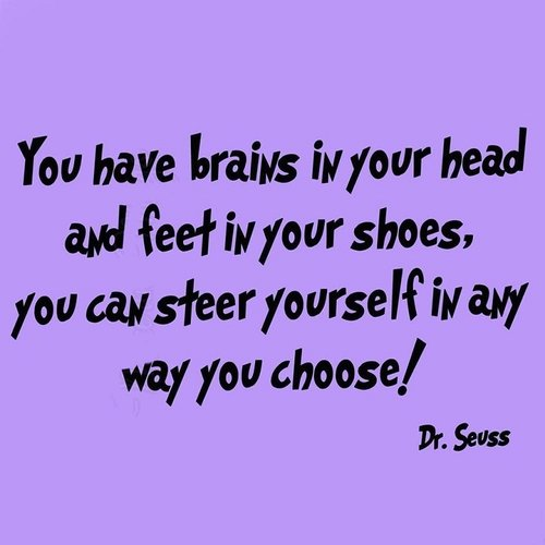 VWAQ Dr Seuss You Have Brains in Your Head Wall Decal