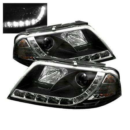Fit 02-05 Audi A4 Quattro / S4 Black DRL Daylight LED Strip Projector  Headlights