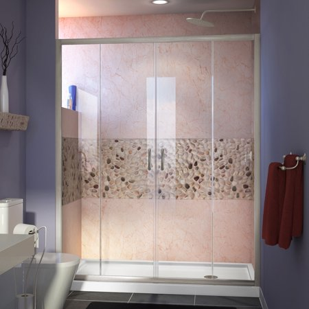 DreamLine Visions 36 in. D x 60 in. W x 74 3/4 in. H Sliding Shower Door in Brushed Nickel with Right Drain White Shower Base