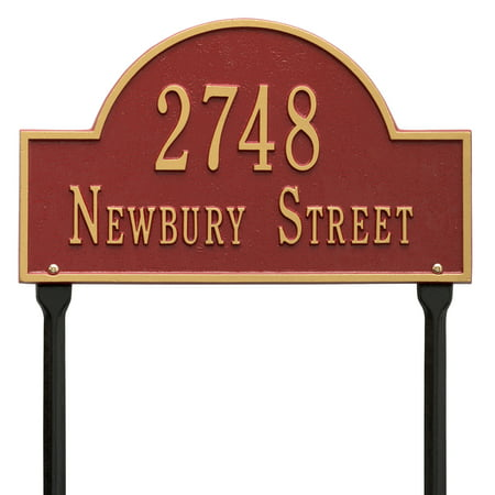 Personalized Whitehall Products Standard Lawn 2 Line Arch Marker in Red/Gold