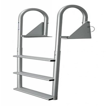Aluminum 12 Volt Outdoor Step - JIF MARINE DJW5-W 5-Wide Step Hinged Dock Ladder - Anodized Aluminum