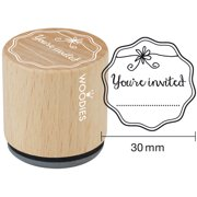 """Woodies Mounted Rubber Stamp 1.35""""-You're Invited"""