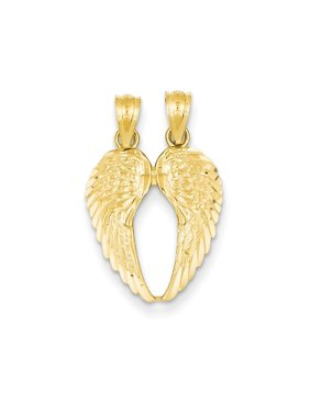 14k Yellow Gold Break Apart Wings Pendant Charm Necklace Religious Angel