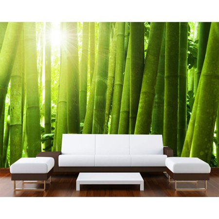 Startonight Mural Wall Art Green Bamboo Illuminated Nature