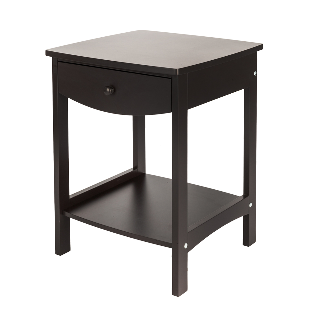 Zimtown Modern Bedside Table Double Layer Coffee Storage Cabinet With Drawer