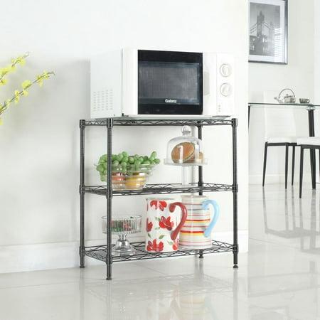 Ktaxon Shelf Organizer Heavy Duty Steel 3 Tier Adjustable Wire Multiuse Organizing Rack Adjustable Wire Bin Rack