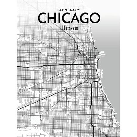 OurPoster com 'Chicago City Map' Graphic Art Print Poster in
