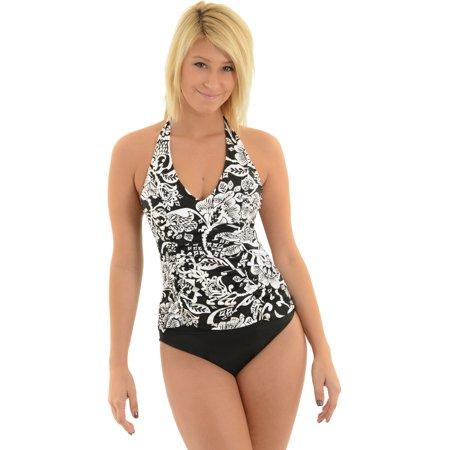 Womens Miraclesuit Swimsuit Black and White Damask Tankini 2 Piece Set Sizes: 10 ()