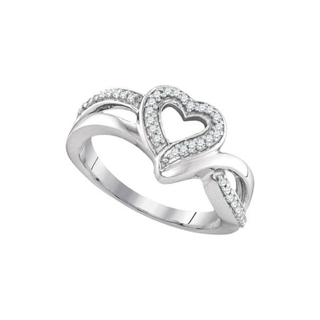 Sterling Silver Womens Round Diamond Heart Frame Cluster Ring 1/8 Cttw
