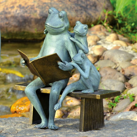 San Pacific International Reading Frog Family Garden Sculpture