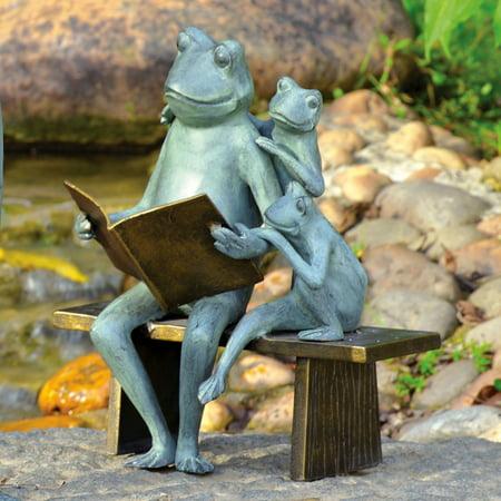 San Pacific International Reading Frog Family Garden Sculpture (Garden Feline Sculpture)