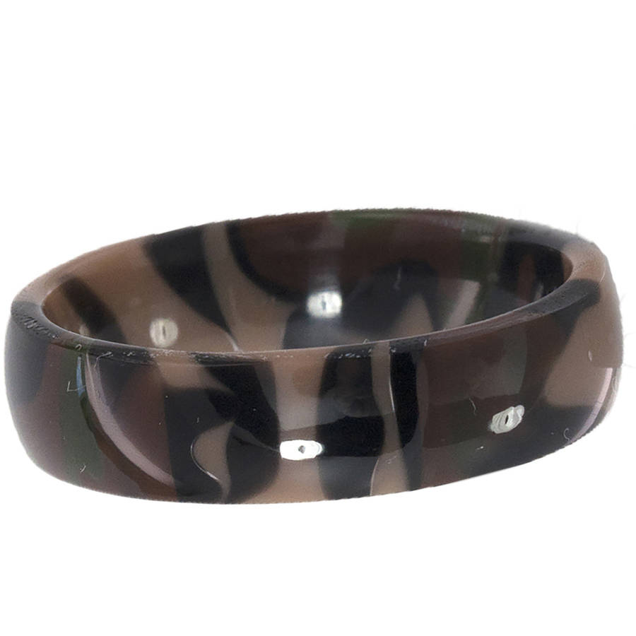 6mm Half-Round Camo Swirl Stackable Ring thumbnail