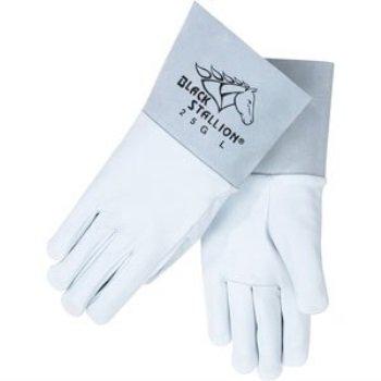 Black Stallion 25G Long CuffGrain Goatskin TIG Welding Gloves,