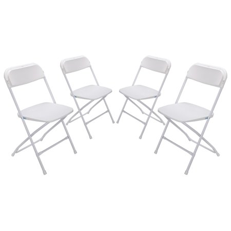 4 x Palm Springs Heavy Duty Molded Plastic Steel Frame Folding Chairs