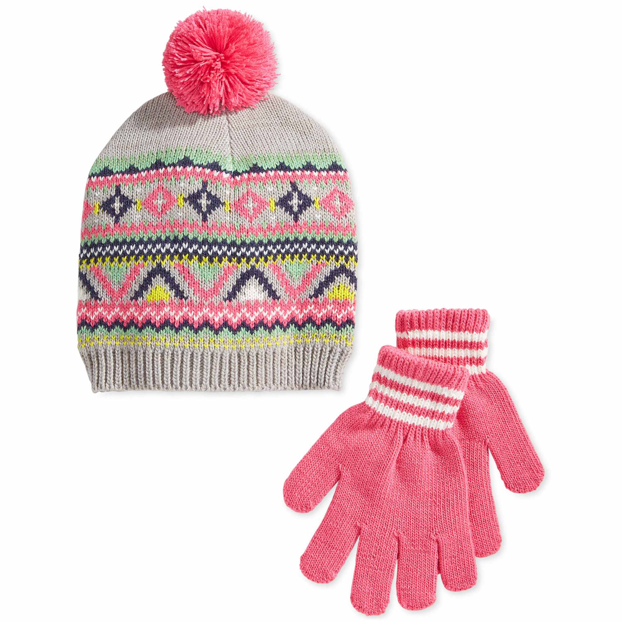 Carter's Little Girls Fair Isle Print Hat and Gloves Set - Size 4-8