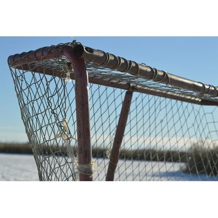 Canvas Print Ice Hockey Net Pond Winter Outdoors Frozen Sports Stretched Canvas 32 x (Frozen Pond Hockey)