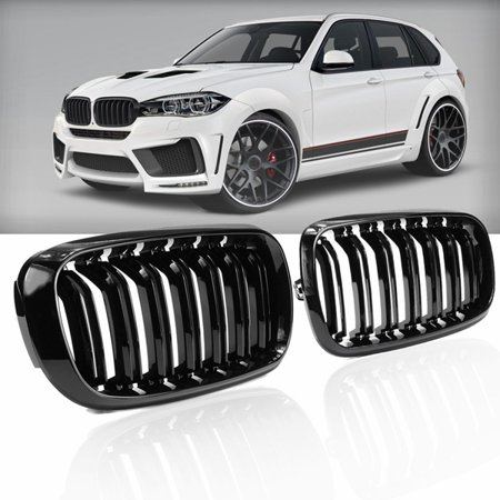 - Gloss Black Dual Slats Kidney Front Grill Grille Girlls Grilles For BMW X5 X6 Series F15 F16 2014-2018