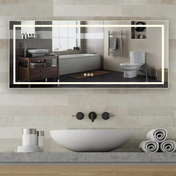 Taimei Frameless Led Light Mirror 72 W, Frameless Vanity Mirror 72 Inches