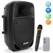 Pyle PSBT85A - PA Speaker with Microphone - Portable Karaoke Speaker System with Built-in , MP3/USB/SD, UHF Mic (8?? Subwoofer, 800 Watt)
