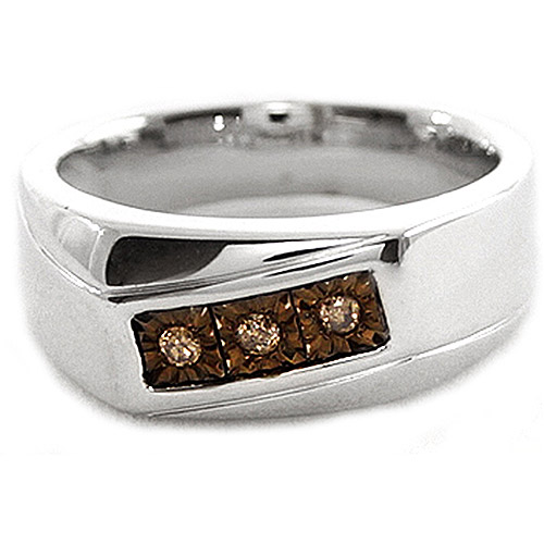 Men's Brown Diamond Accent Three-Stone Sterling Silver Ring