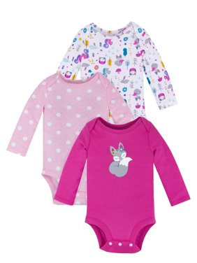 Little Star Organic Baby Girl Long Sleeve Pure Organic Bodysuits, 3 Pack
