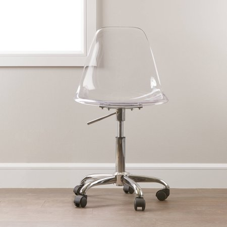 South shore clear acrylic office chair with wheels for Clear acrylic office chair