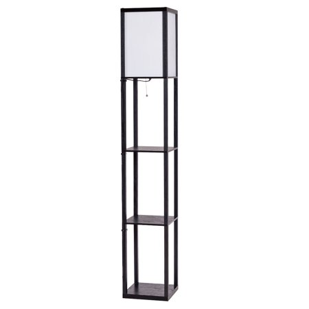 costway modern shelf floor lamp lighting home living room w 3 storage shelves. Black Bedroom Furniture Sets. Home Design Ideas