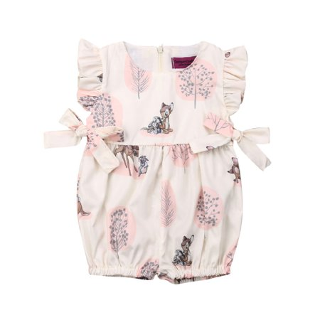 New Outfit 2019 (2019 Brand New Infant Baby Girl Romper Cute Deer Print Fly Sleeve Bow Playsuit Sunsuit Summer Outfits One)