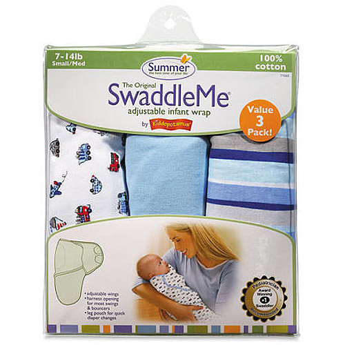 Summer Infant 3 Piece SwaddleMe Adjustable Infant Wrap, Beep Beep, Small/Medium