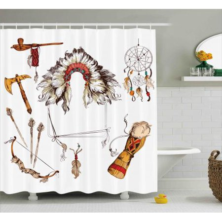 Tribal Shower Curtain Ethnic Tomahawk Navajo Indian Chef Dreamcatcher Feather Old World Motifs Image