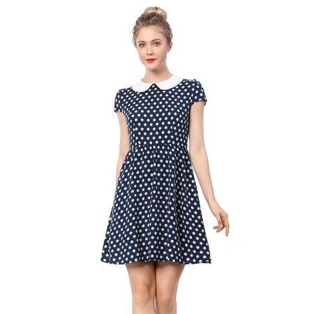 Women Peter Pan Collar Above Knee Contrast Polka Dot Dress Skirt