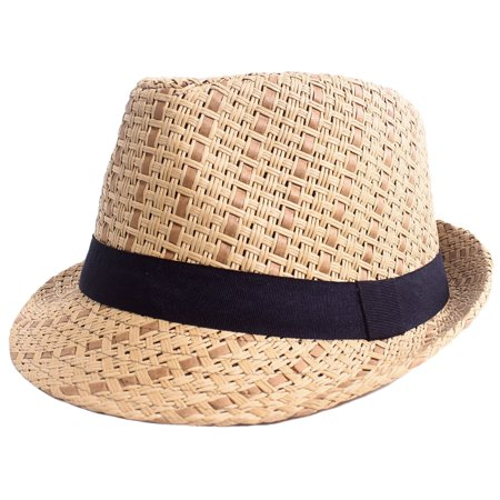 07512bd9bf9be5 Men / Women Summer Vintage Straw Fedora Hat 745_Brown Large/X-Large -  Walmart.com
