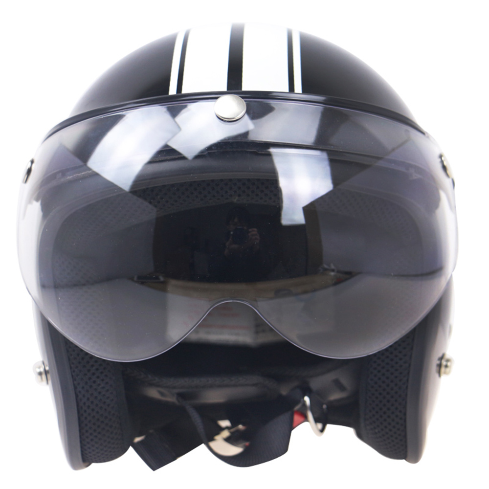 Universal Motorcycle Windproof Helmet 3-Snap Visor Face Shield Front Flip Up
