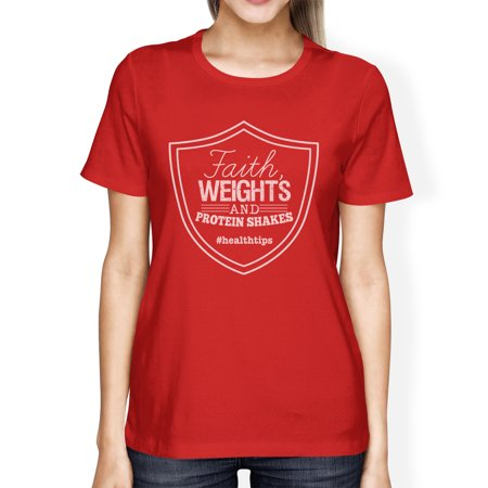 Faith Weights Womens Red Funny Workout Saying T-Shirt For Gift Idea](Halloween Themed Workout Ideas)