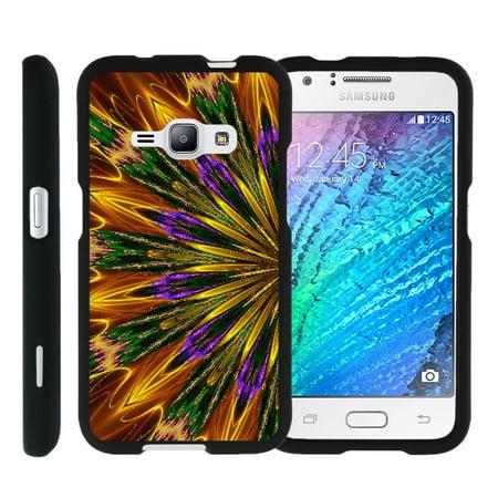 Miniturtle® [Samsung Galaxy J1 J120 Case (2016), Samsung Amp 2 Case, Samsung Express 3 Slim Cover] -[Snap Shell] Slim 2 Piece Rubberized Hard Snap On Plastic Case - Kaleidoscopic Phoenix 2 Rubberized Hard Case