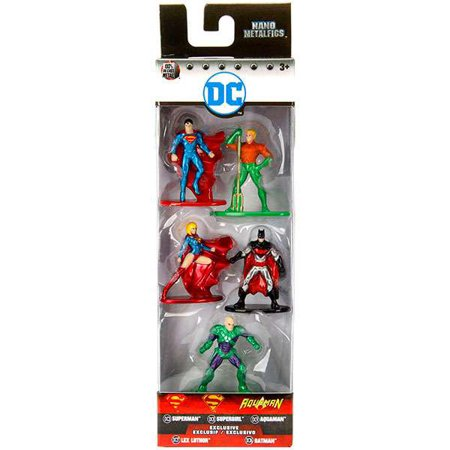 DC Nano Metalfigs Superman, Aquaman, Supergirl, Batman & Lex Luthor Diecast Figure - Superman And Supergirl